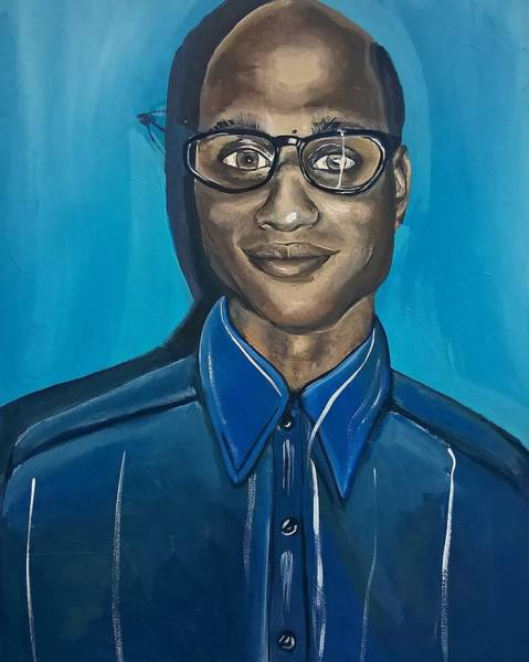 Painting - Smart Black Man Nerd Guy With Glasses Cartoon Art Painting by Ai P Nilson