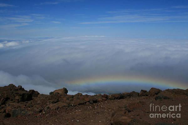Photograph - Anuenue - Rainbow At The Ahinahina Ahu Haleakala Sunrise Maui Hawaii by Sharon Mau