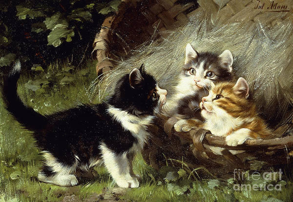 Three Little Kittens Wall Art - Painting - Any Room In The Basket by Julius Adam