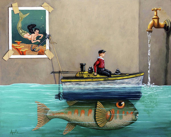 Wall Art - Painting - Anyfin Is Possible - Fisherman Toy Boat And Mermaid Still Life Painting by Linda Apple