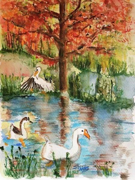 Wall Art - Painting - Anyones Duck Pond by Elaine Duras