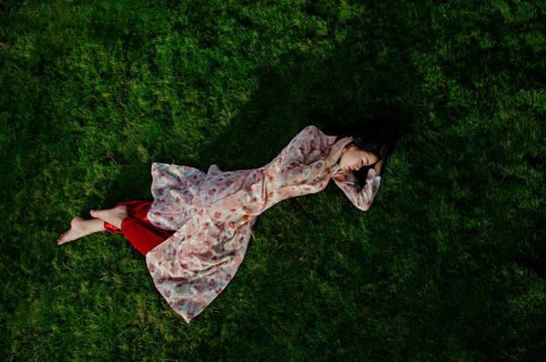 Photograph - Ao Dai Lying On The Grass by Tran Minh Quan