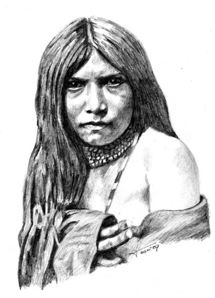 Drawing - Apache Girl Zosh Clishn by Toon De Zwart
