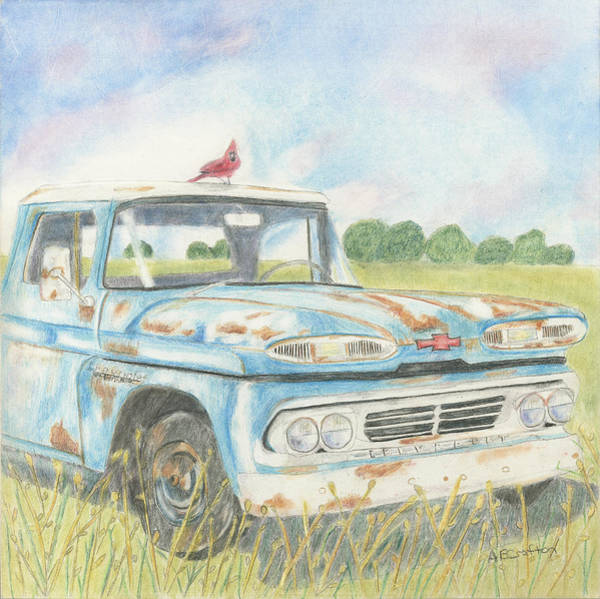 Old Chevy Truck Drawing - Apache Out To Pasture by Arlene Crafton