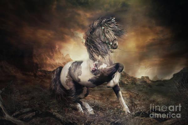Wall Art - Digital Art - Apache War Horse Landscape by Shanina Conway