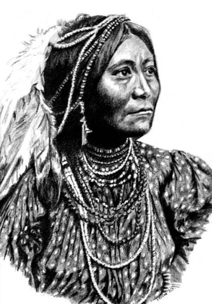 Drawing - Apache Woman by Toon De Zwart