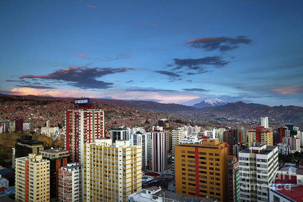 Photograph - Apartment Buildings In Downtown La Paz At Sunset Bolivia by James Brunker