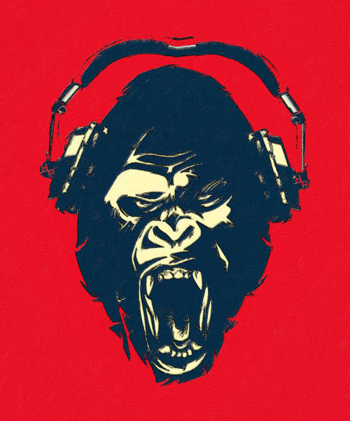 Painting - Ape Loves Music With Headphones by Tony Rubino