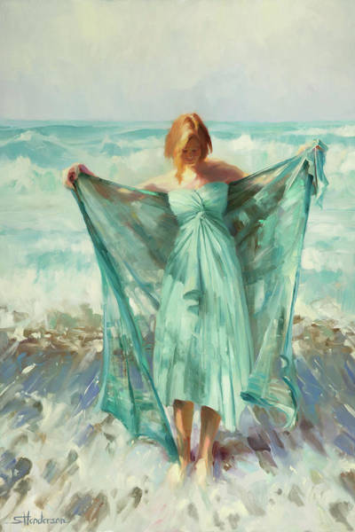 Blue Hair Wall Art - Painting - Aphrodite by Steve Henderson