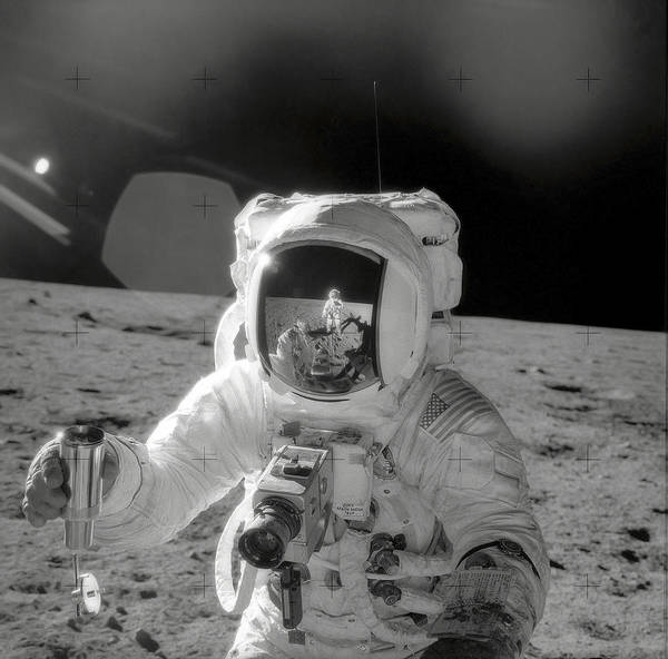 Photograph - Apollo 12 Moonwalk by Stocktrek Images