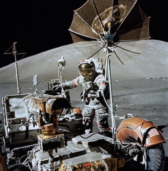 1972 Photograph - Apollo 17 Astronaut Approaches by Stocktrek Images