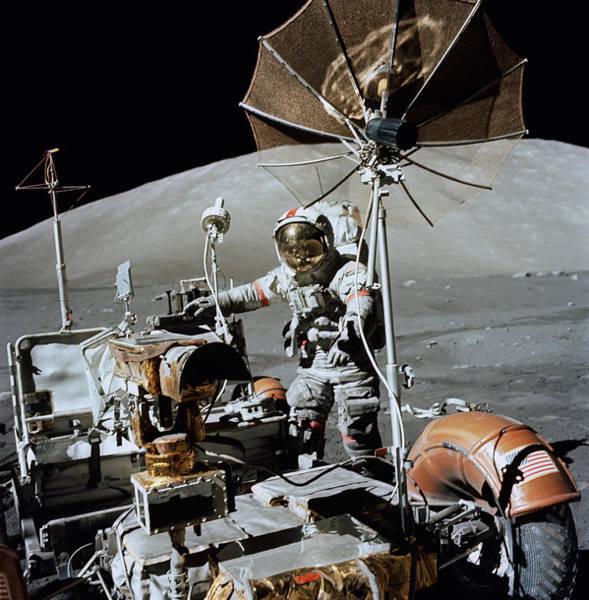 Apollo 17 Astronaut Approaches Art Print
