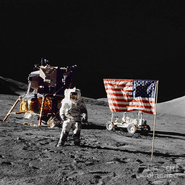 1972 Photograph - Apollo 17 Astronaut Stands by Stocktrek Images