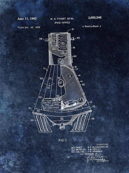 Wall Art - Drawing - Apollo Command Module Patent by Dan Sproul