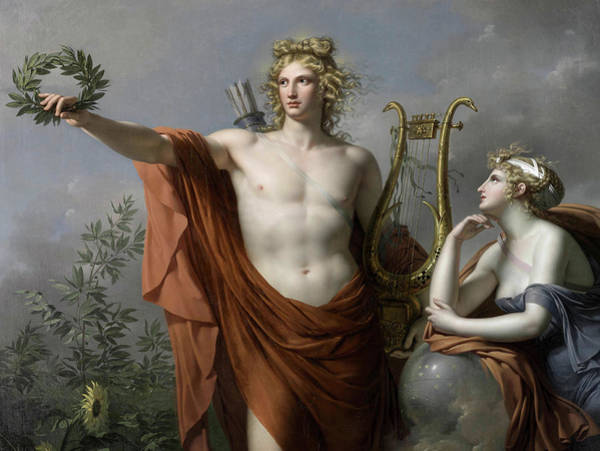 Poetry Painting - Apollo, God Of Light, Eloquence, Poetry And The Fine Arts With Urania, Muse Of Astronomy by Charles Meynier