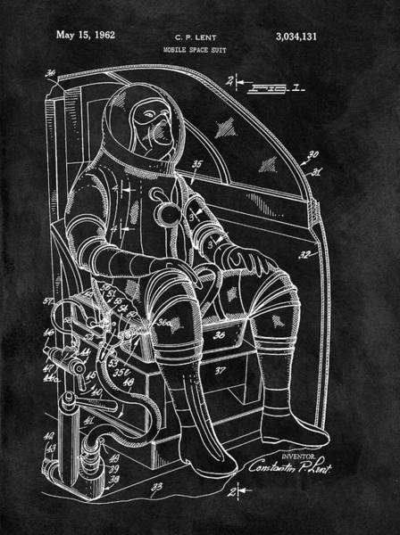 Wall Art - Drawing - Apollo Space Suit Patent by Dan Sproul