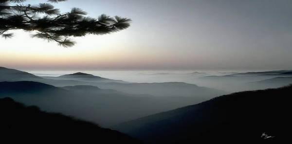 Wall Art - Photograph - Appalachian Smoky Mountain Fog Panoramic Misty Dawn  Sunrise Sunset Scene Picture Decor by John Samsen