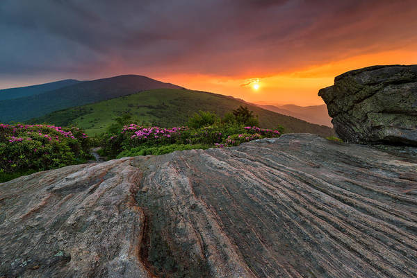 Bald Mountain Photograph - Appalachian Trail Roan Highlands Jane Bald Sunset Landscape by Mark VanDyke