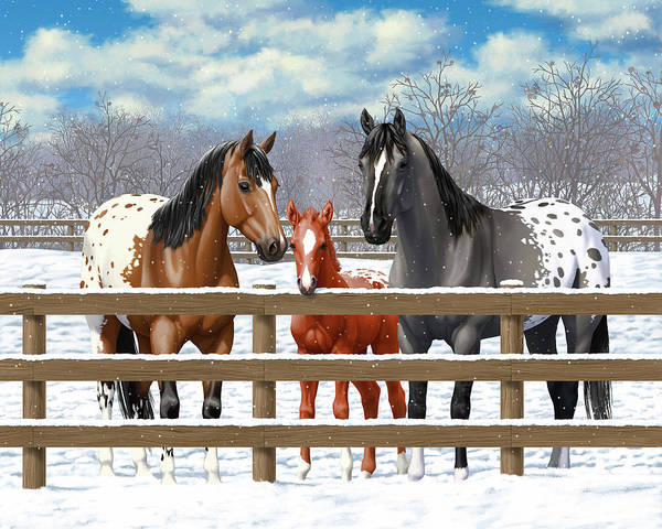 Wall Art - Painting - Appaloosa Horses In Winter Ranch Corral by Crista Forest
