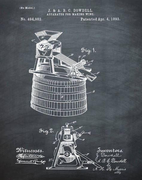 Photograph - Apparatus For Making Wine Patent 1893 Chalk by Bill Cannon