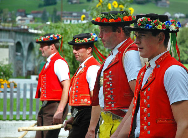 Photograph - Appenzell Costumed Farmers In Cow Parade by Ginger Wakem