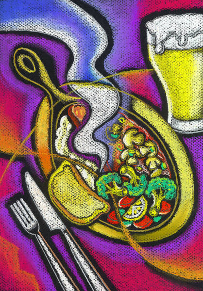 Wall Art - Painting - Appetizing Dinner by Leon Zernitsky