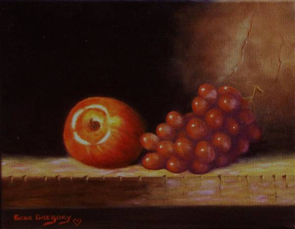 Painting - Apple And Grapes by Gene Gregory