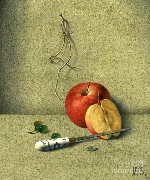 Apple And Knife Art Print by Victor Sap