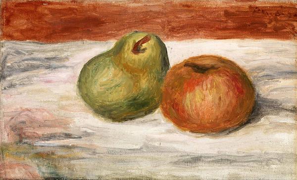 Apple Peel Wall Art - Painting - Apple And Pear by Pierre-Auguste Renoir