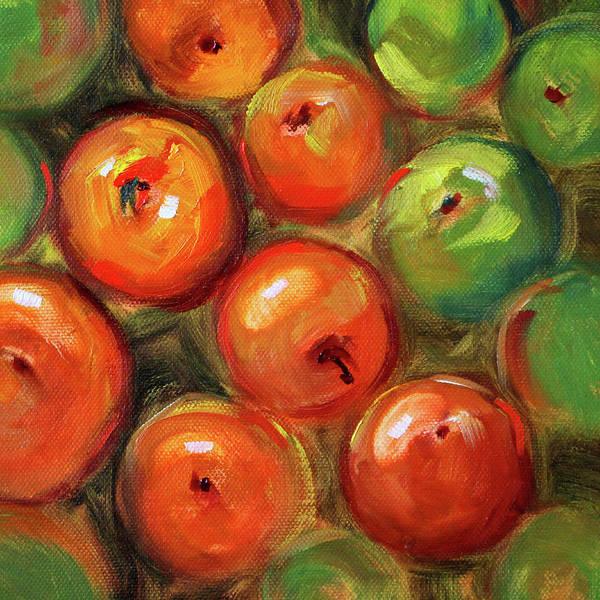 Gala Wall Art - Painting - Apple Barrel Still Life by Nancy Merkle