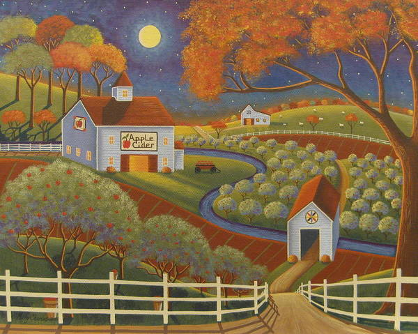 Apple Orchard Painting - Apple Cider Hill by Mary Charles