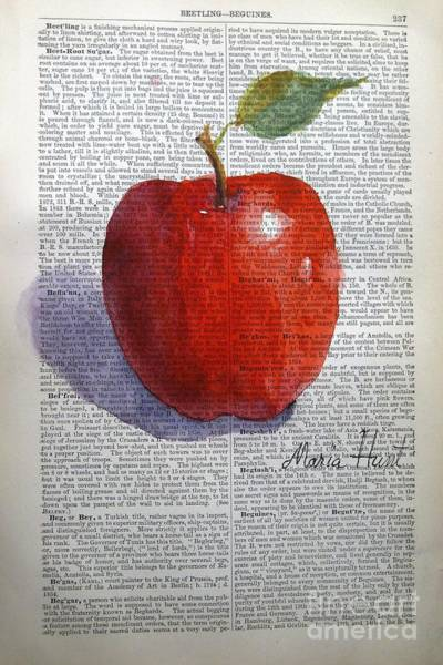 Wall Art - Painting - Kattywompus Apple On Antique Paper by Maria Hunt