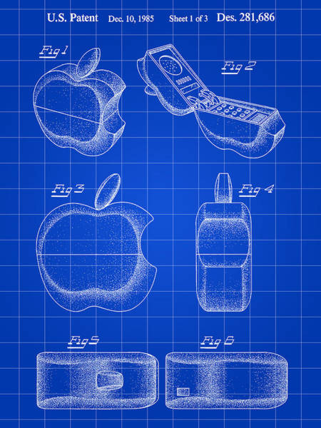 Silicon Valley Wall Art - Digital Art - Apple Phone Patent 1985 - Blue by Stephen Younts