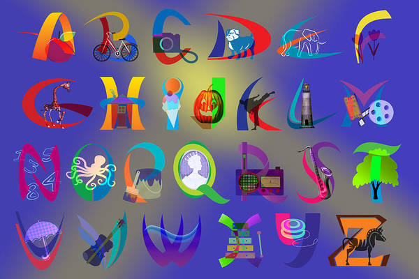 A To Z Digital Art - Apple To Zebra - Illustrated Alphabet by Steve Ohlsen