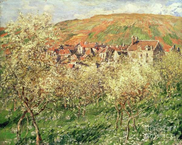 Apple Orchard Painting - Apple Trees In Blossom by Claude Monet