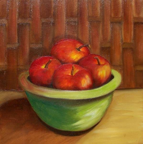 Painting - Apples And Bamboo by Susan Dehlinger