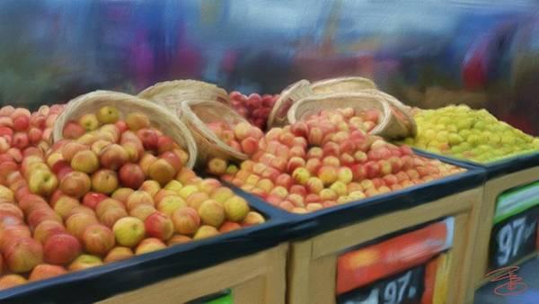 Wicker Basket Digital Art - Apples And Baskets by Debra Baldwin
