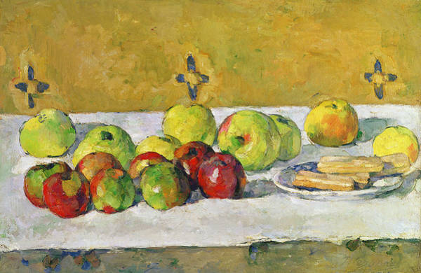 Tablecloth Painting - Apples And Biscuits by Paul Cezanne