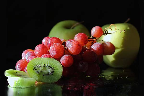 Photograph - Apples, Grapes And Kiwi  by Angela Murdock