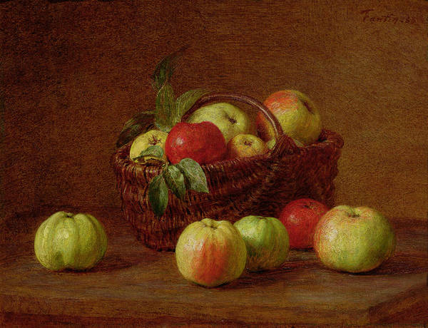 Veg Painting - Apples In A Basket And On A Table by Ignace Henri Jean Fantin-Latour
