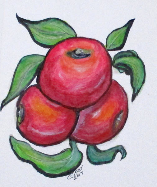 Painting - Apples In Three by Clyde J Kell
