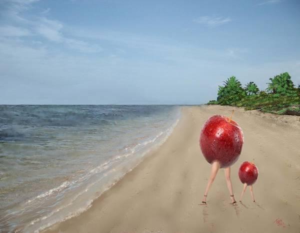 Digital Art - Apples On The Beach by Tony Rodriguez