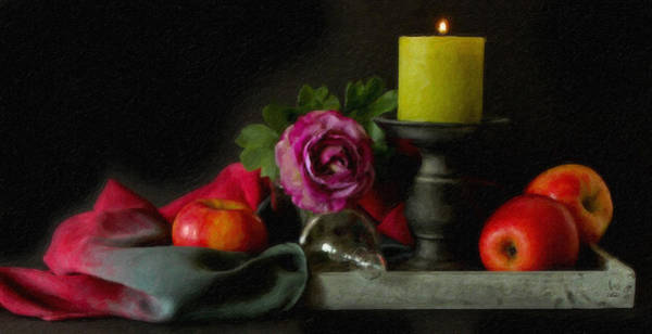 Painting - Apples Rose And Candlestick On Tray Stl712923 by Dean Wittle