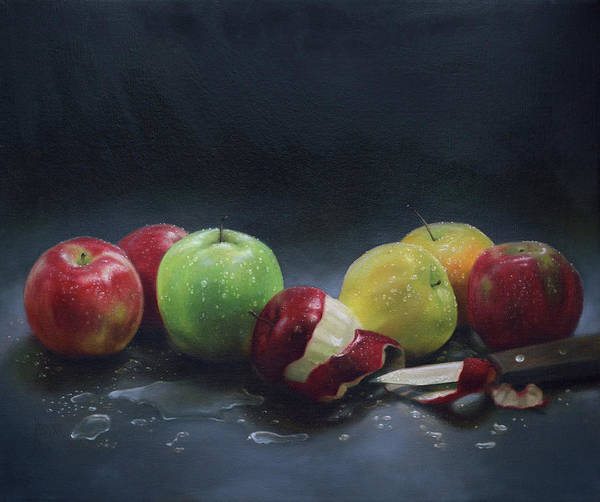 Apple Peel Painting - Apples With Knife by K Thompson Paul