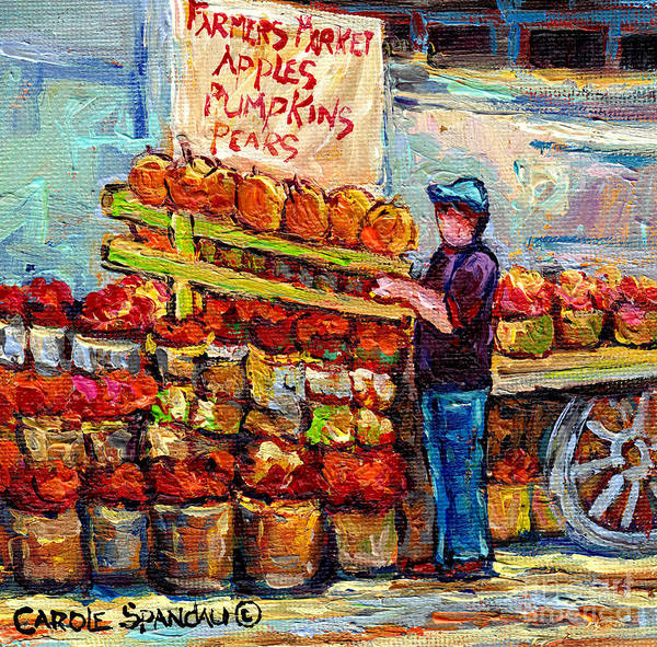 Painting - Apple Picking Time At Farmer's Fruit Stand Market Scene Canadian Paintings C Spandau Artist         by Carole Spandau