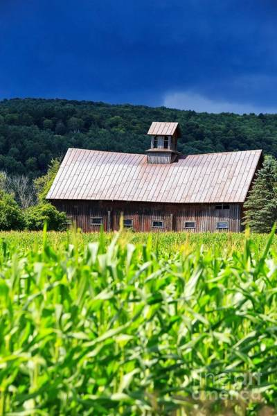 Silo Photograph - Approaching Storm Vermont Barn by Edward Fielding