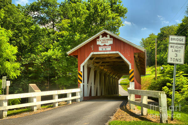 Somerset County Photograph - Approaching The New Blatimoe Covered Bridge by Adam Jewell