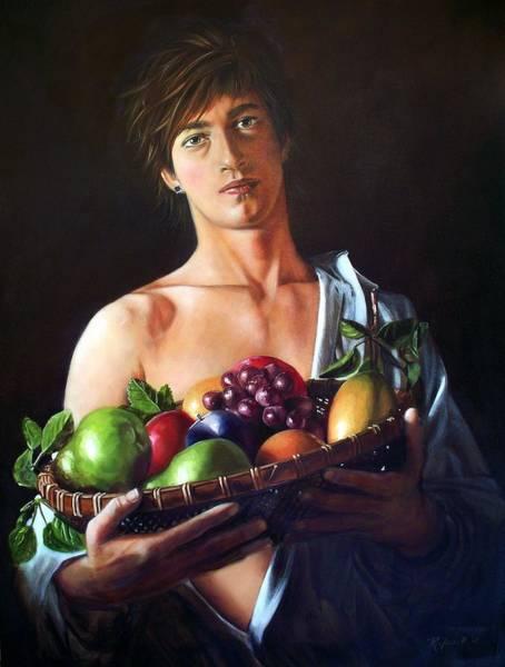 Apres Caravaggio - Garcon Avec Le Panier Du Fruit Art Print