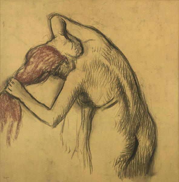 After The Bath Drawing - Apres Le Bain Femme S'essuyant by Edgar Degas