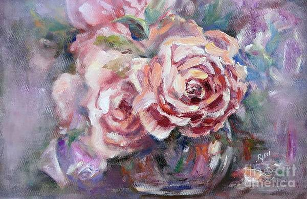 Painting - Apricot Rose And Blue Moon Rose by Ryn Shell